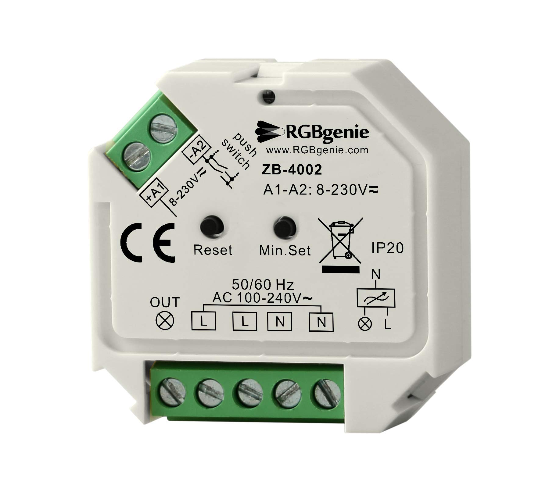 Zigbee Micro Controller and Lamp Module - Single Channel Trailing Edge Dimmer with Momentary Switch Input. 200 Watts, Zigbee 3.0. RGBgenie ZB-4002