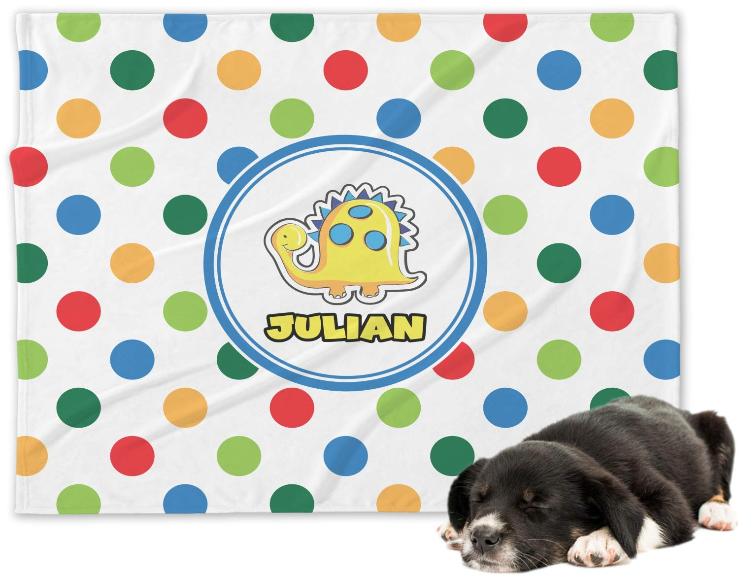 RNK Shops Dots & Dinosaur Minky Dog Blanket - Large (Personalized)