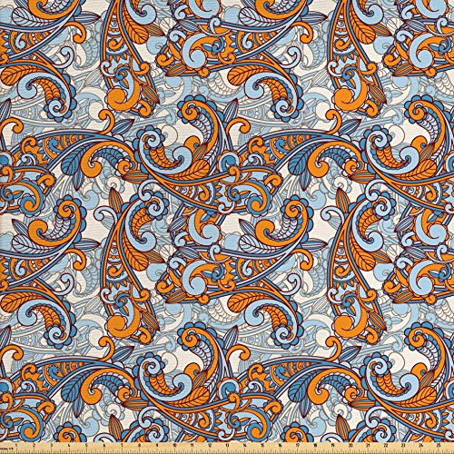 Ambesonne Vintage Fabric by The Yard, Paisley Inspired Asian Swirls Curls Floral Abstract Botanical Oriental, Decorative Fabric for Upholstery and Home Accents, Orange Pale Blue Cream