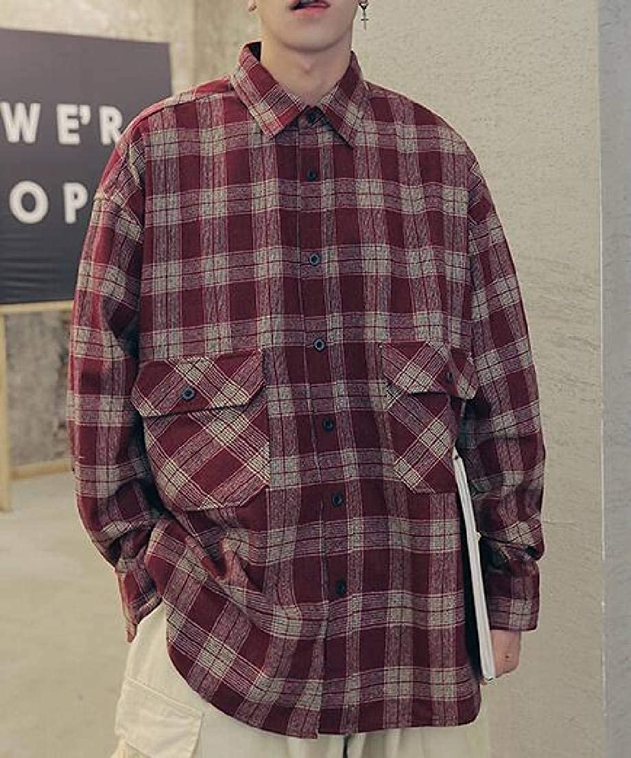 Spirio Mens Plaid Casual Button Down Loose Long Sleeve Shirts with Pockets