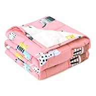 Anjee 5lbs Weighted Blanket for Kids, 36 x 48 Inches Heavy Blankets with Breathable Cotton Fabric Available on Both Sides, Pink Cat