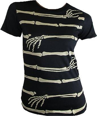 Rockabilly Punk Rock Baby – Camiseta de mujer negro gótico huesos mano Emo Abrazo: Amazon.es: Ropa y accesorios