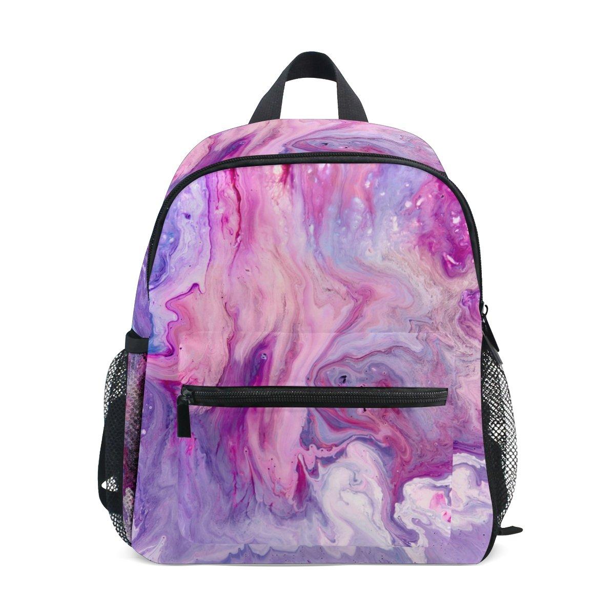 スクールバックパックバッグ 抽象パープル ピンク マーブル 子供 女の子 男の子用 B07F2GHDYW