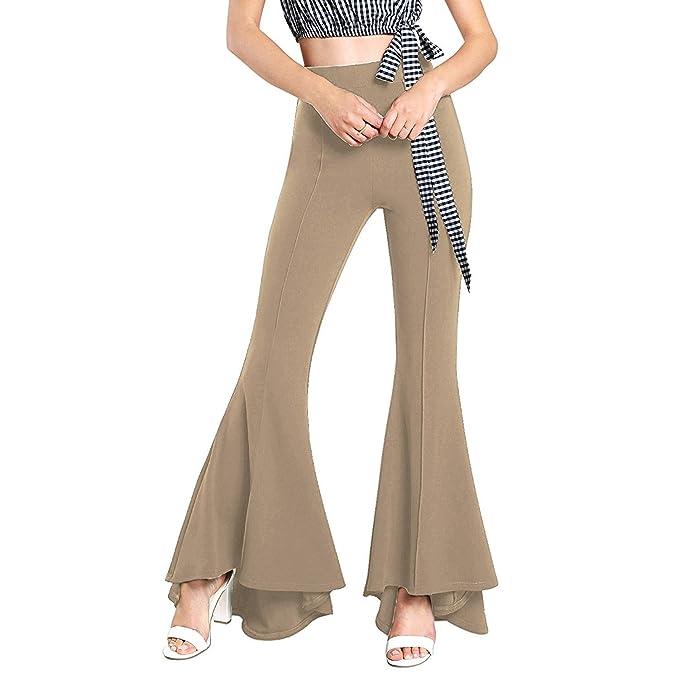 Mujer Pantalones de Campana Pantalones de Casual Delgado ...