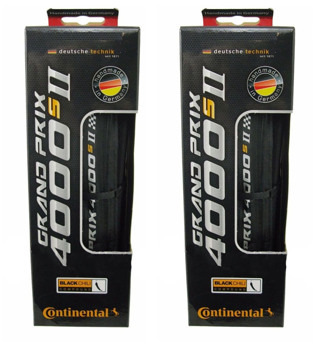 Continental Grand Prix 4000 S II Tire 700 x 25 700x25C Black Chili Reflex 2 Pack 0100946
