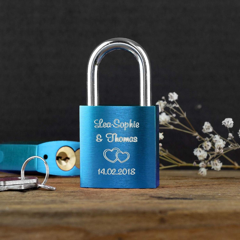 Caja de regalo gratis y mucho mas LIEBESSCHLOSS-FACTORY Candado de amor Azul grabado /¡Crea tu propio candado grabado ahora!
