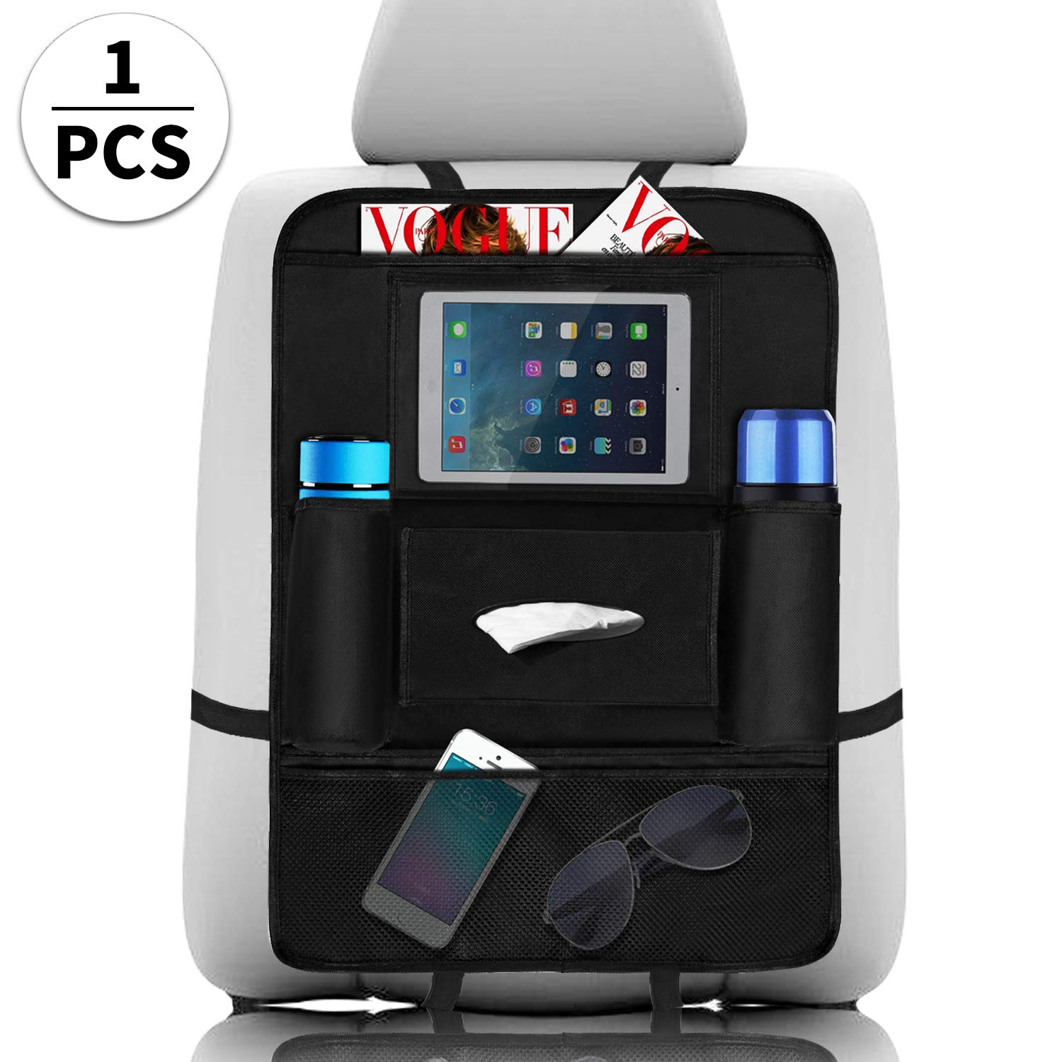 Car Back Seat Organiser 1Pcs, Waterproof Kick Mats Car Boot Organiser Seat Back Protectors with Multi-Pocket for Bottles, Kids Toy Storage, Tissue Boxes, 10'' iPad Tablet Touch Screen Holder Cosy Life