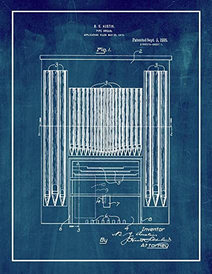 Amazon com: Pipe Organ Patent Print Midnight Blue with Border (8 5