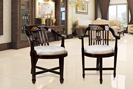 Dzyn Furnitures Ancient India Gold Solid Wood Living Room Chair Set