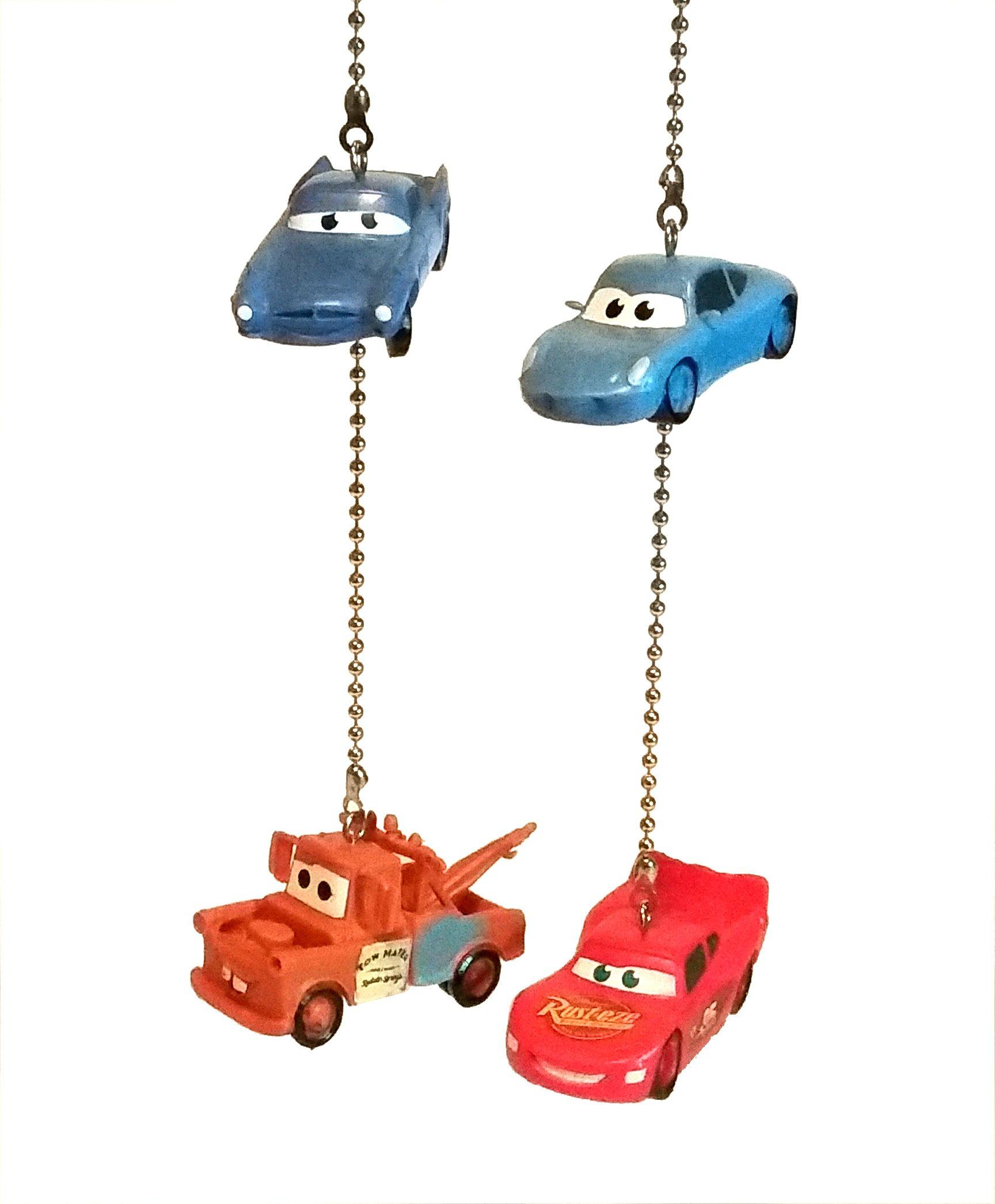Lightning McQueen & Tow Mater Ceiling Fan Pull Set by Wooden Androyd Studio (Lightning Mater Sally & Finn)