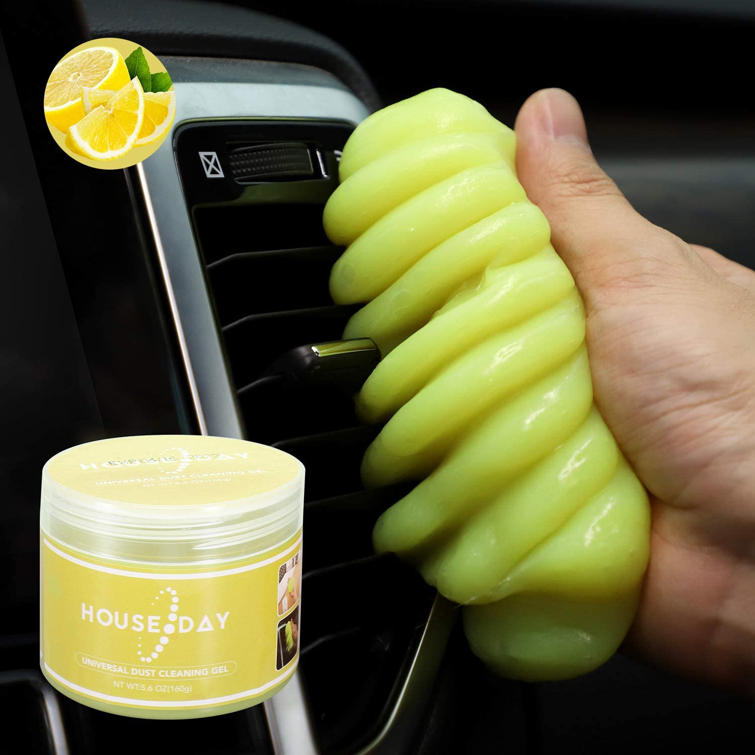 Cleaning Gel for Car Detailing Putty Auto Cleaning Putty Auto Detailing Gel Detail Tools Car Interior Cleaner Universal Dust Removal Gel Vent Cleaner Keyboard Cleaner for Laptop,Car Vents (1pc Yellow)