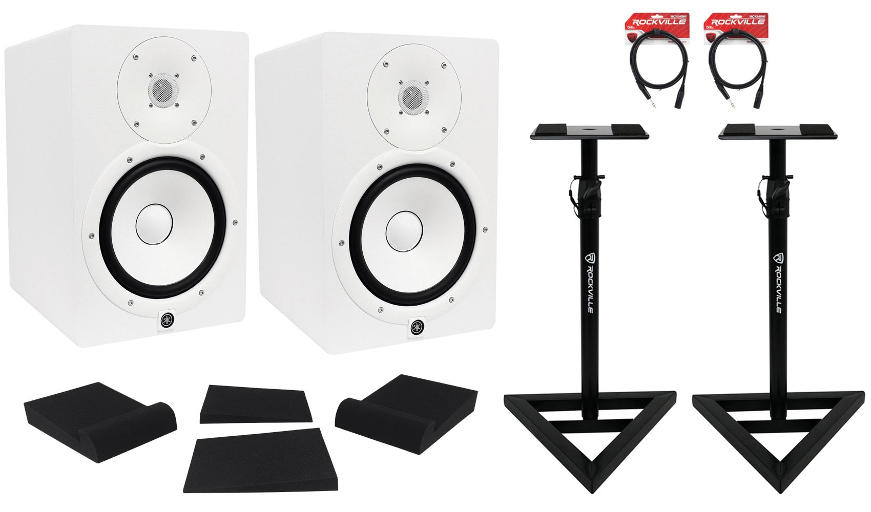 Package: (2) Yamaha HS8 W White 2-Way Bi-Amplified Nearfield Studio Monitors + Auralex MOPAD Studiofoam Monitor Isolation Pad + Pair of Rockville RVSM1 Heavy Duty Studio Monitor Stands + 2) Rockville RCXMB6-B 6' XLR to 1/4'' TRS Cables