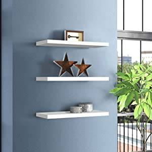 Set of 3 Wall Mounted Display Storage Floating Shelves,Wooden Wall Shelves with Gloss Finish,Storage Rack Bookshelves Organizer Home Decro Furniture,White
