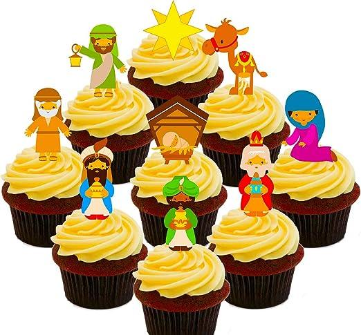 Navidad – decoraciones comestibles cupcake toppers – Pie oblea ...