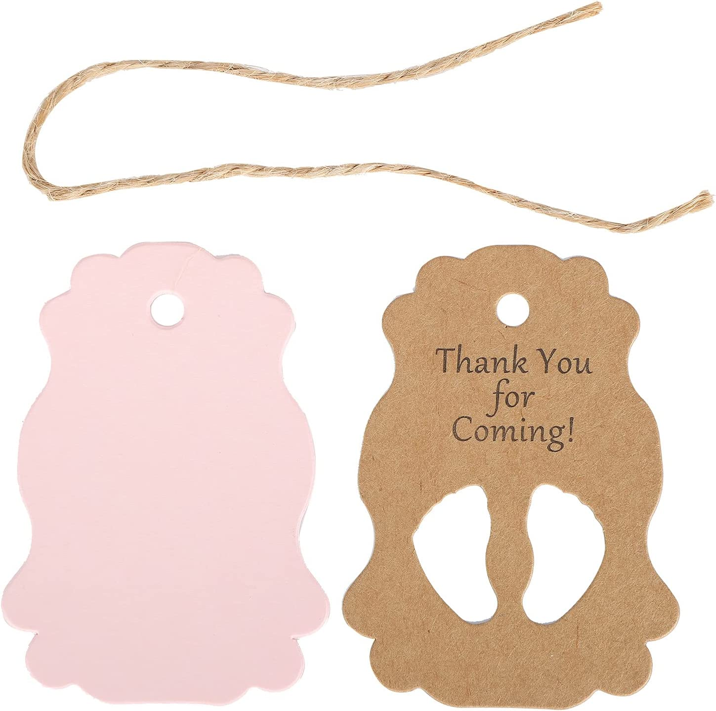50Pcs Thank You for Coming Baby Feet Kraft Tags with Jute Twine Baby Shower Party Favors, Paper Gift Tags for Baby Shower Birthday Party Supplies