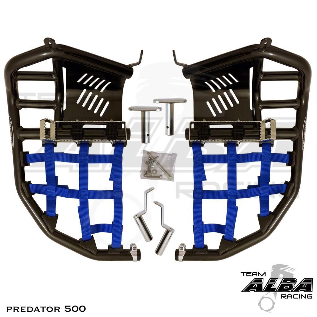 Polaris Predator 500 (2003-2007) Propeg Nerf Bars Black Bars w/ Blue Net