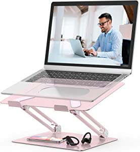 """Laptop Stand,Youbester Adjustable Multi-Angle Stand with Heat-Vent to Elevate Laptop, Aluminum Ergonomic Portable Computer Notebook Stand Compatible for MacBook,Dell,HP More 10-17"""" Laptops (Rose Gold)"""