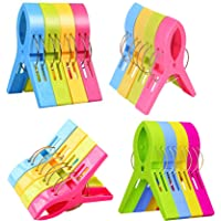 Yansanido 16 Pack Beach Towel Clips 4.7'' Large Chair Clips Towel Holder for Pool Chairs on Cruise-Jumbo Size,Plastic…