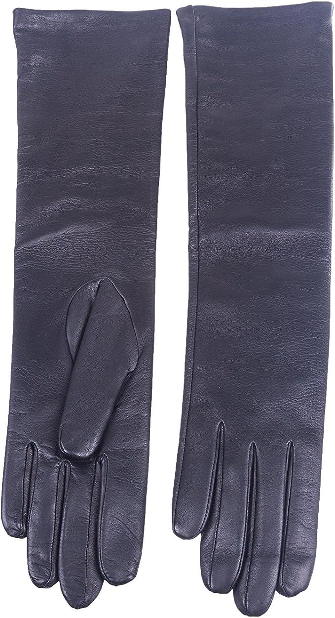 Women Fashion Long Genuine Leather Winter Elbow Opera Evening Gloves Silk Lining