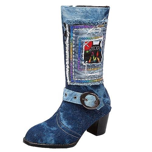 YE Damen Blockabsatz Kurzschaft Stiefel Jeans Damen Denim Boots mit  Reißverschluss Retro Herbst Winter Schuhe( ec1743dea6