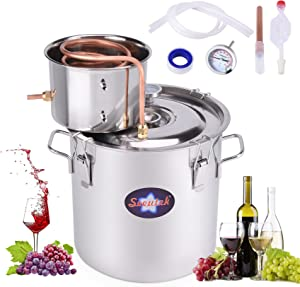 Seeutek Moonshine Still 3Gal 12L Stainless Steel Water Alcohol Distiller Kit Spirits Boiler Copper Tube Ethanol Still Build-In Thermometer for Home Brewing and DIY Whisky Wine Brandy Making