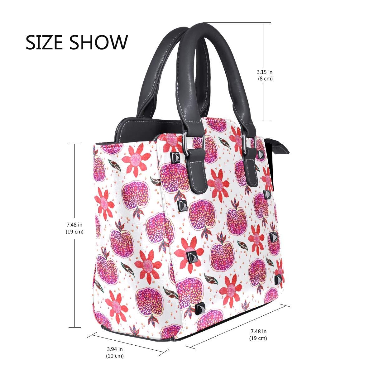 Womens Top Handle Satchel Handbag Watercolor Pomegranate Ladies PU Leather Shoulder Bag Crossbody Bag