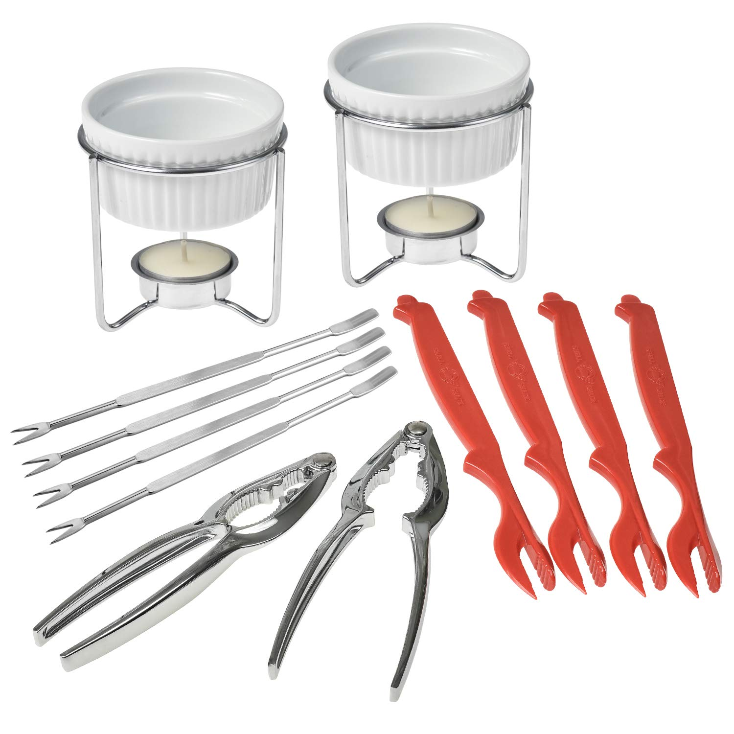 Crabaholik Seafood Tools Set: Ultimate Crab Utensils Set of 2 Lobster Crackers + 2 Ceramic Butter Warmers + 4 Lobster Knives + 4 Crab Forks  Stylish & Heavy-Duty Seafood Lovers