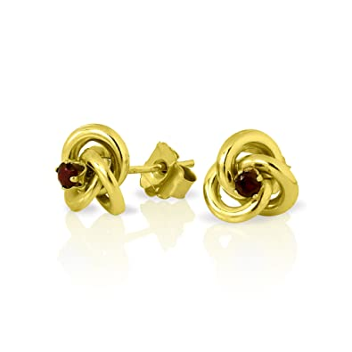 3ae214972 9ct Gold Knot Stud Earrings with 2mm Garnet Gemstones: Amazon.co.uk:  Jewellery
