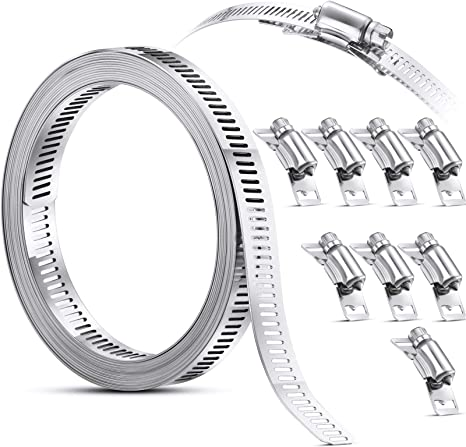 6 Inch 2 PCS Adjustable Stainless Steel Worm Gear Hose Clamps Details about  /