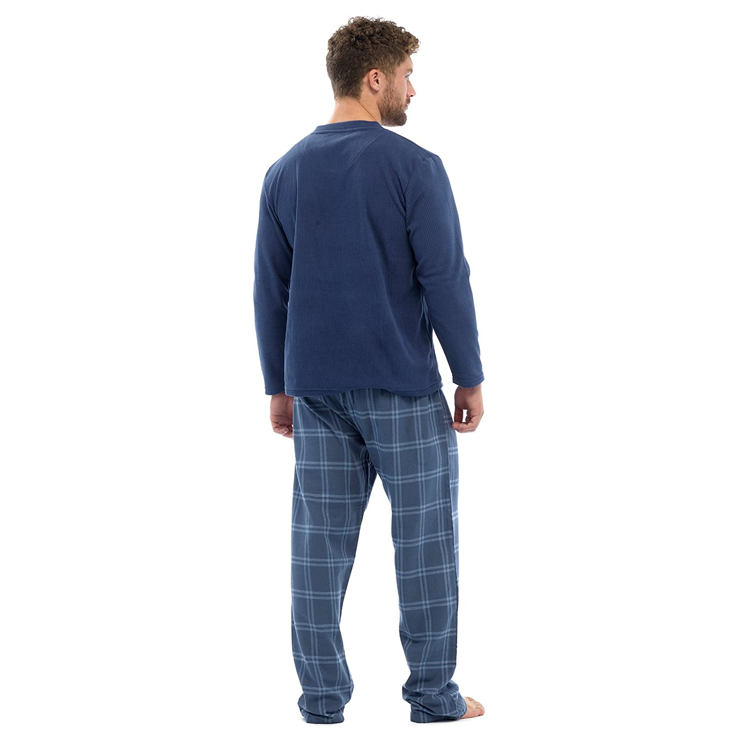 Mens Thermal Fleece Top & Flannel Check Bottoms PJ Pyjama Set Winter Nightwear Tom Franks