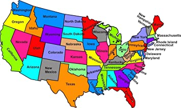 Amazon.com: Home Comforts Laminated Map - Name The Us States Map ...