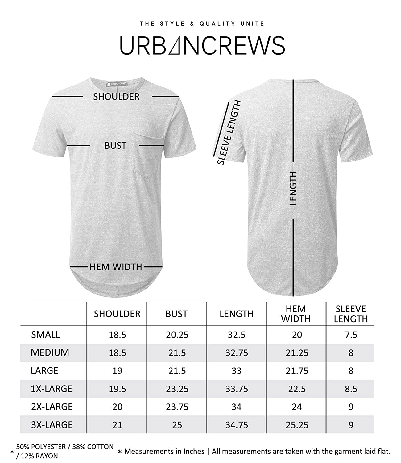 Urbancrews Mens Hipster Hip Hop Lightweight Longline T Tendencies Tshirt Washed Pocket Nv Navy S Shirt Clothing