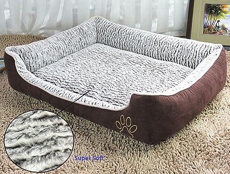 Cama para perro Jasonwell® rectangular de felpa cálida y supersuave, con almohada
