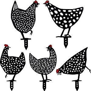 5 Pieces Acrylic Chicken Yard Garden Decoration Decorative Garden Stake Chicken Yard Sign Hollow Out Animal Shape Decoration Rooster Animal Stake Rooster Art Decoration for Yard Lawn, 10 x 8 Inch