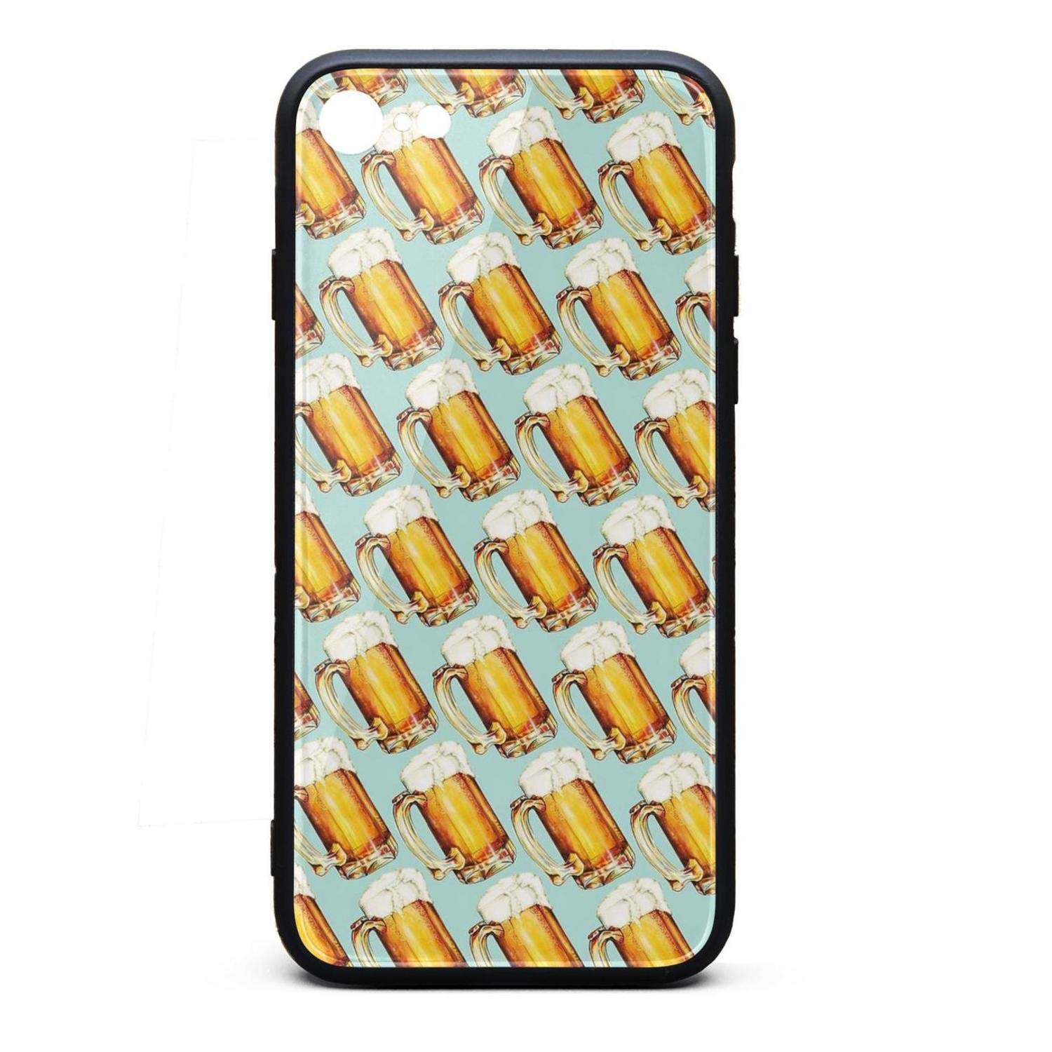 Beer Pattern Unique iPhone 8 Case,iPhone 7 Case Shock-Absorption Flexible Soft Rubber TPU Bumper/Anti-Finger/Anti-Scratch/Phone Case for iPhone 8 Case/iPhone 7 Case