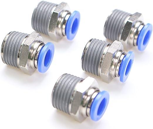 G 1//4 x 4mm Push In 5 St/ück Steckverschraubung Schnellsteckverbinder
