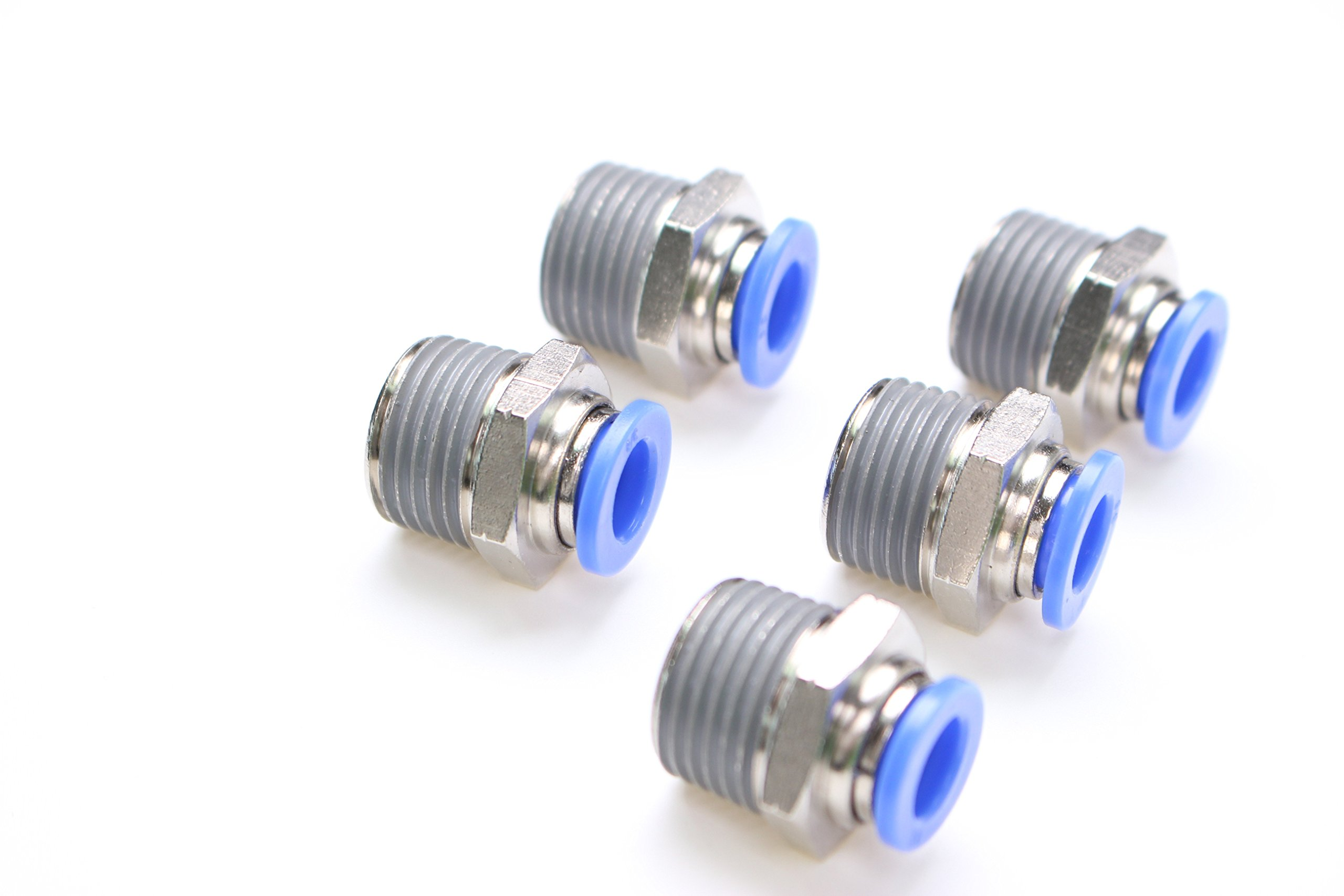 Union Tee 1//4 Tube DOT Approved Pack of 5 PneumaticPlus Air Supsension Push-in Lock Fitting