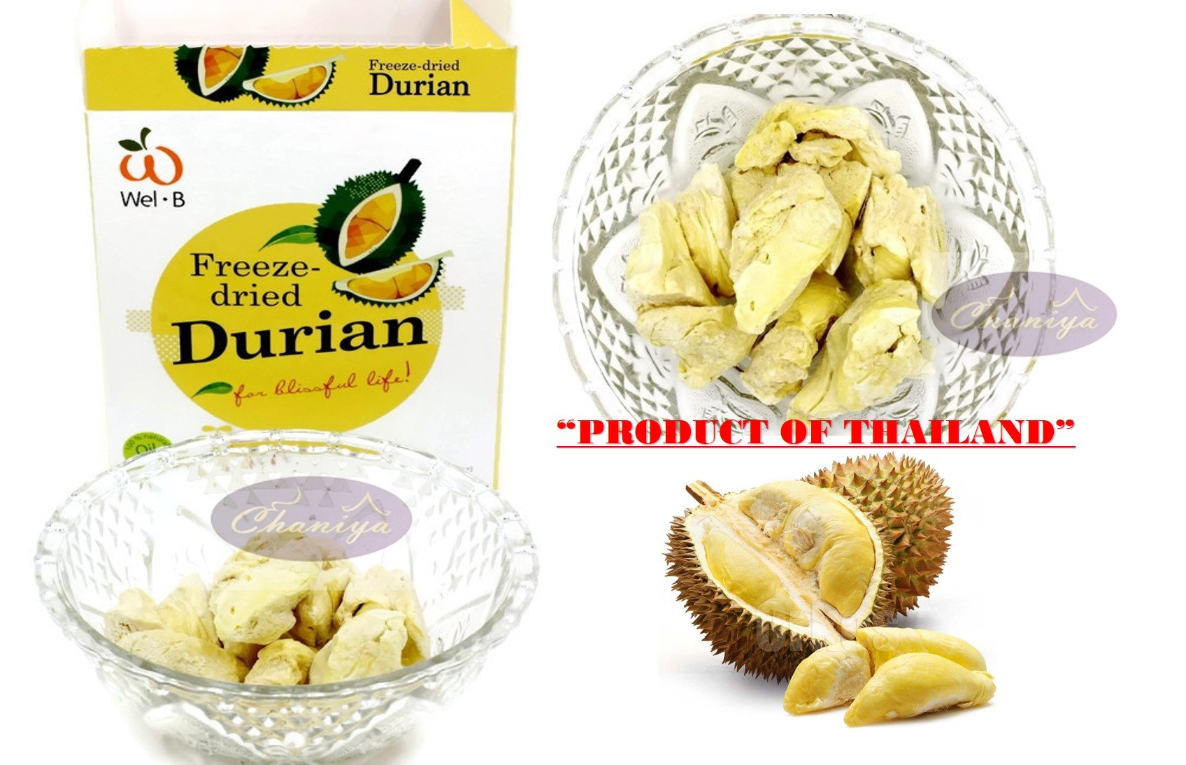 Crispy freeze dried fruit Durian Healthy Snack 100% All Natural Oil-Free 30g. (1.06 Oz)