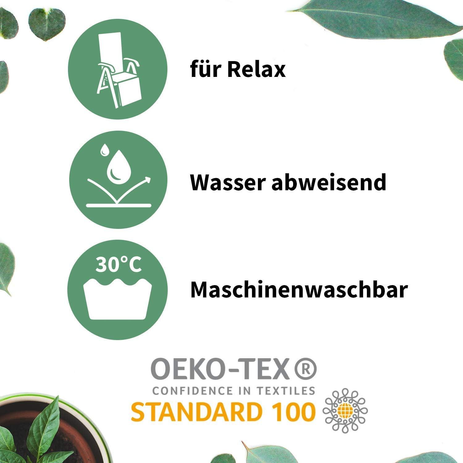 Beo Gartenm/öbel Auflage f/ür Relaxst/ühle 171x50 cm 6cm Dick in Uni hellgrau