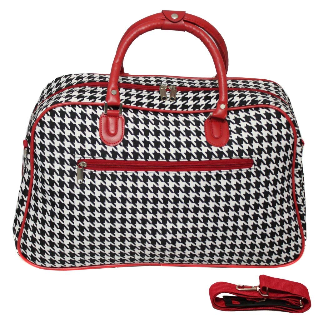 21 Polyester Red Trim Lightweight Duffel Bag Houndstooth Foldable