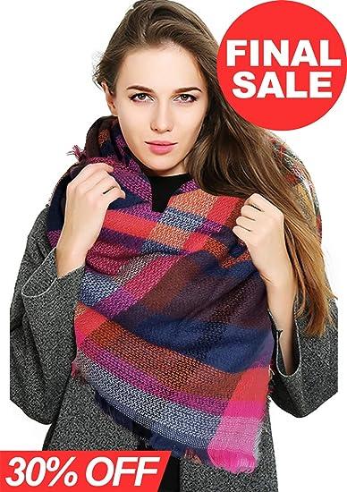 6b813e747cc0 Womens Blanket Scarf Fashion Plaid Scarfs Warm Tartan Chunky Wrap Oversized  Shawl Cape (Pink+