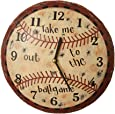 "Your Heart's Delight ""Take Me Out"" Baseball Wall Clock, 11-1/4-Inch"