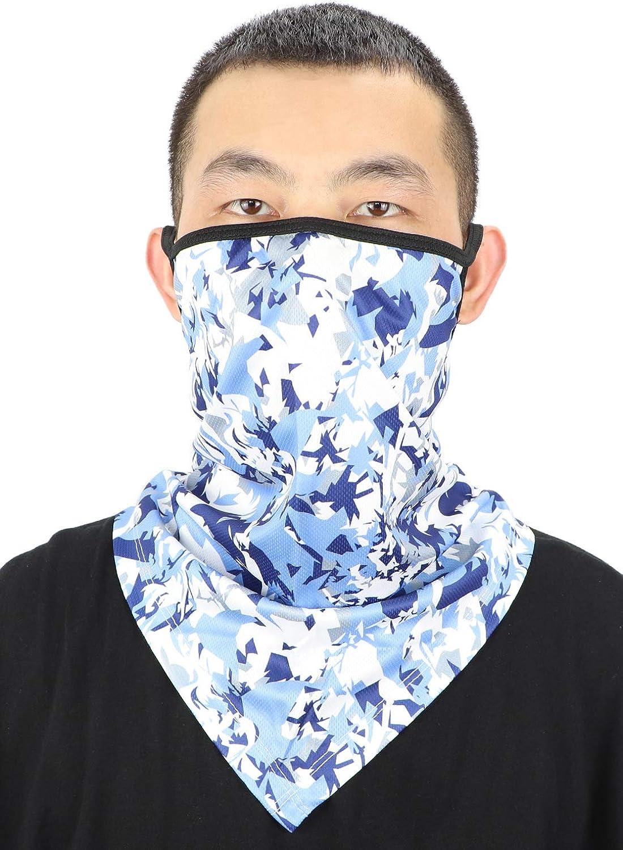 Cooling Neck Gaiters for Men Summer Bandana Balaclava Cotton Ear Loops Reusable Face Mask Fishing