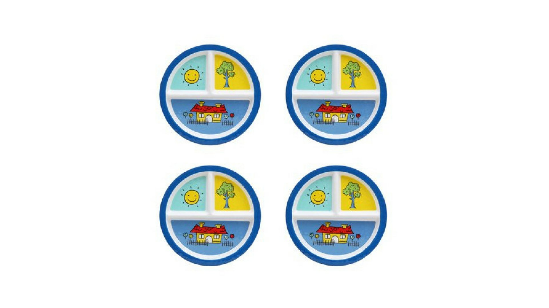 Kids 4-Pack Melamine Round Happy Days Design Divided Plate by Maìnstàys (Image #1)