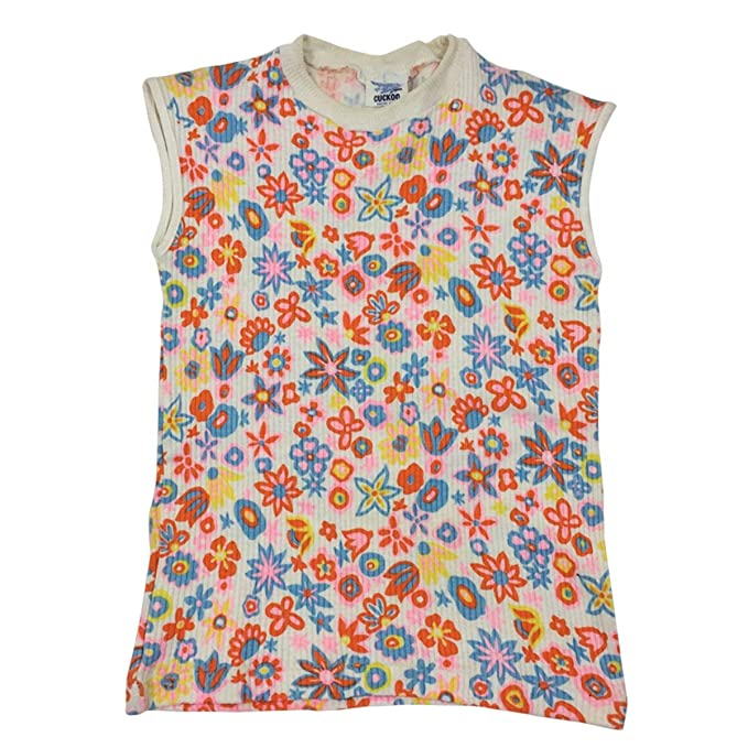 Girls T-Shirt Authentic Vintage Daisy Print Cap Sleeve Ribbed Top 6 to 10 Years