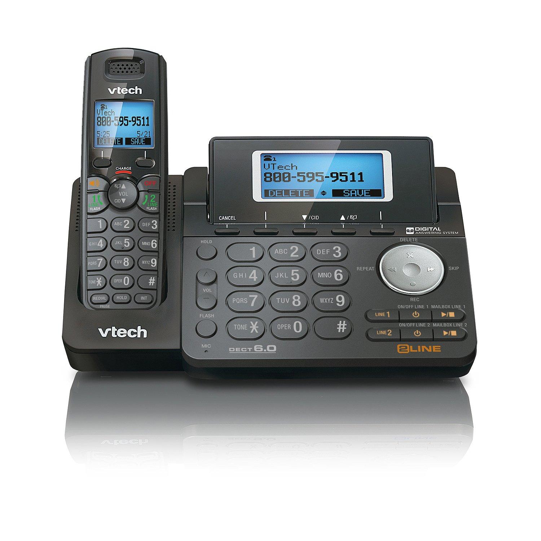 VTech DS6151-11 DECT 6.0 2-Line Expandable Cordless Phone + (4) DS6101-11 Accessory Handset, Black by VTech (Image #1)
