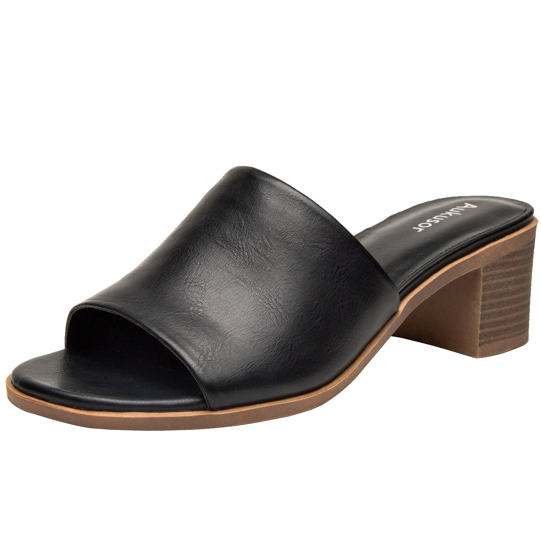 Aukusor Women's Low Heel Sandals, Open Toe Pump Heel Slide Sandals, Summer Shoes for Girls. (180104, Black, 7)
