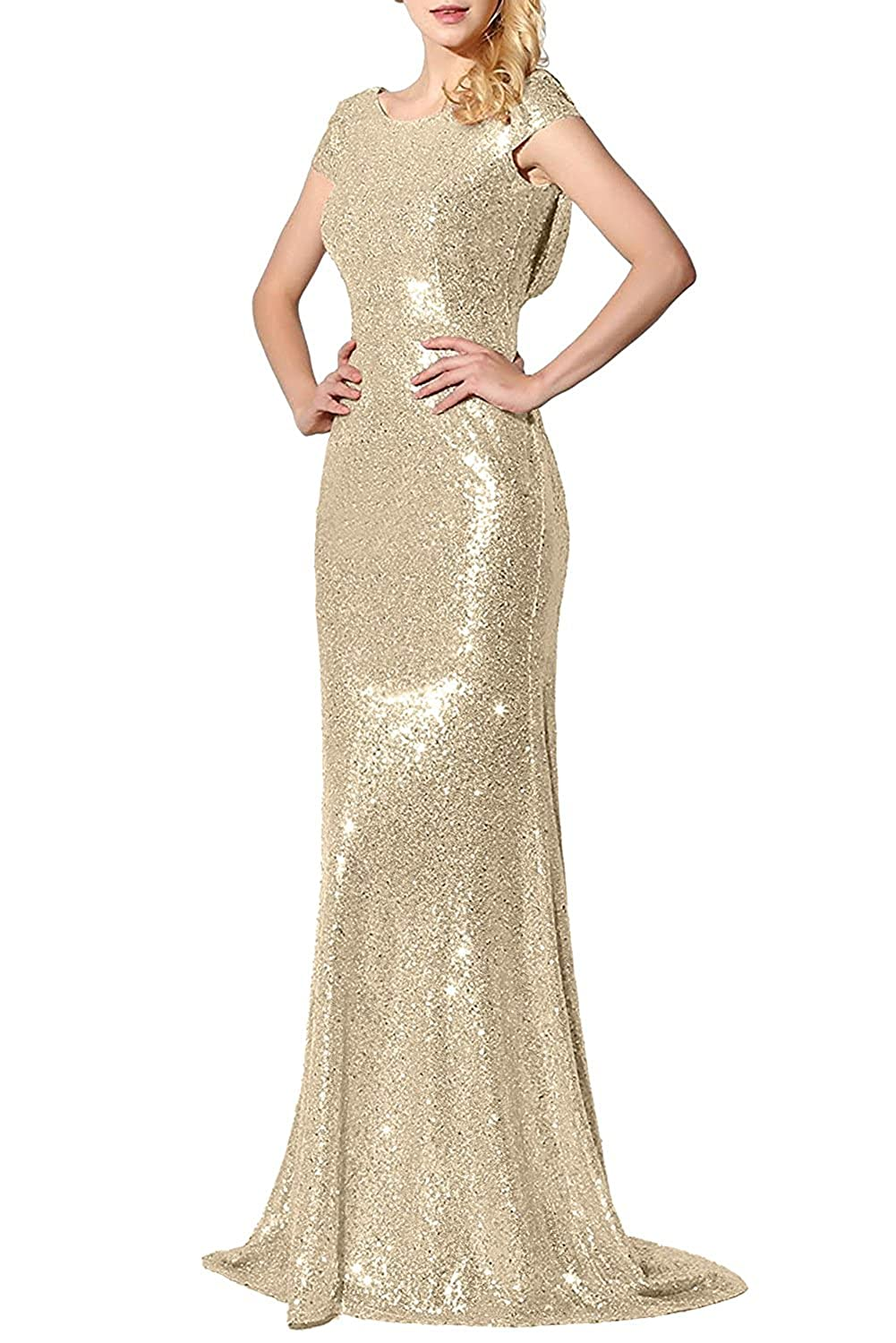gold1 Promstar Women Elegant gold Sequins Bridesmaid Wedding Dresses Evening Gown