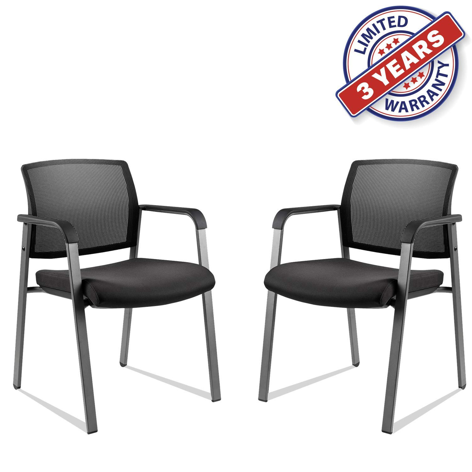 CLATINA Mesh Back Stack Arm Chairs with Upholstered Fabric Seat and Ergonomic Lumbar Support for Office School Church Guest Reception Black 2 Pack Set by CLATINA