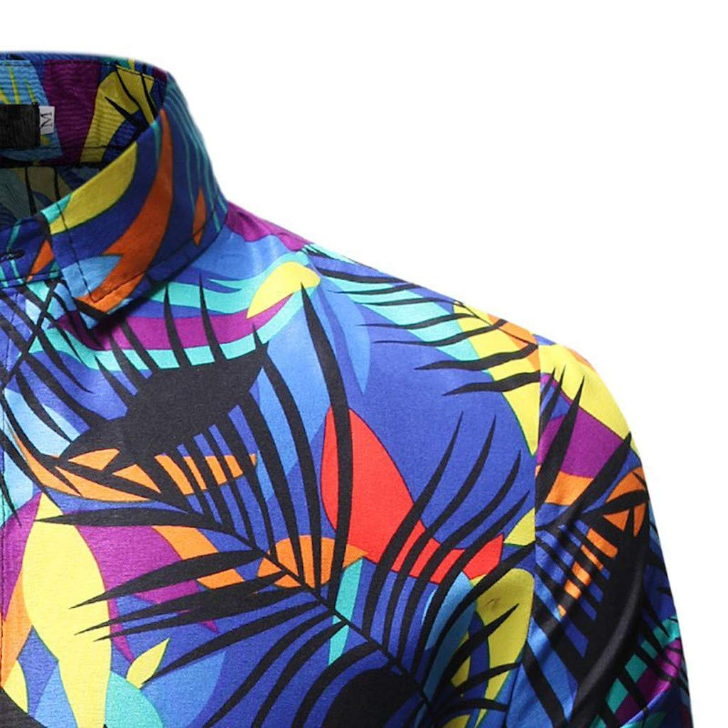 Men Shirt Mens Casual Flower Print Long Sleeve Casual Button Down Hawaiian Aloha Shirt Funny Beach Shirt Blouse Tee